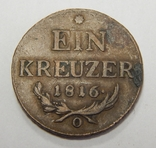 1 крейцер, 1816 О Австрия, фото №2