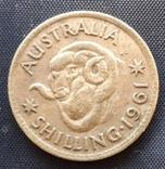 1 шиллинг Австралия Елизавета 1961г. серебро, фото №2