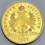 8 флоринов 20 франков. 1887. Франц Иосиф I. Австро-Венгрия (золото 900, вес 6,45 г), фото №3