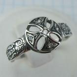 Серебряное Кольцо Размер 20.25 Мальтийский Крест Молитва Фианиты 925 проба Серебро 592
