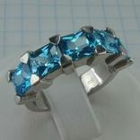 Серебряное Кольцо Размер 17 Яркие Голубые Камни Фианиты Принцесса 925 проба Серебро 868