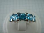 Серебряное Кольцо Размер 17 Яркие Голубые Камни Фианиты Принцесса 925 проба Серебро 868, фото №3