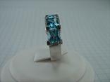 Серебряное Кольцо Размер 17 Яркие Голубые Камни Фианиты Принцесса 925 проба Серебро 868, фото №4