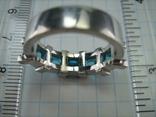 Серебряное Кольцо Размер 17 Яркие Голубые Камни Фианиты Принцесса 925 проба Серебро 868, фото №6