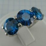 Серебряное Кольцо Размер 16.75 Яркие Синие Камни Крупные Большие 925 проба Серебро 870