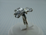 Серебряное Кольцо Размер 18.75 Камни Белые Фиолетовый Лепестки 925 проба Серебро 937, фото №5