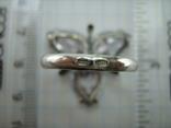 Серебряное Кольцо Размер 18.75 Камни Белые Фиолетовый Лепестки 925 проба Серебро 937, фото №6