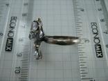 Серебряное Кольцо Размер 18.75 Камни Белые Фиолетовый Лепестки 925 проба Серебро 937, фото №8
