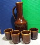 Керамический кувшин и 4 стакана времен СССР, новый, фото №2