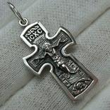 Серебряный Крест Крестик Распятие Иисус Христос Богородица Иерусалим 925 проба Серебро 477