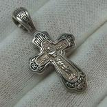 Серебряный Крест Крестик Святой Николай Распятие Иисус Христос 925 проба Серебро 365