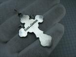 Серебряный Крест Ангелы Распятие Иисус Христос Спаси и сохрани 925 проба Серебро 453 фото 2