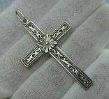 Серебряный Крест Большой Растительный Цветочный Узор Роза 925 проба Серебро 366 фото 1
