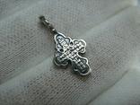 Серебряный Крестик Маленький Детский для Ребенка Молитва Да воскреснет Бог 925 проба 390, фото №3