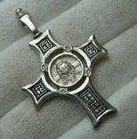 Серебряный Крест Большой Спас Нерукотворный Кресту поклоняемся 925 проба Серебро 434