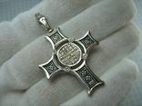 Серебряный Крест Большой Спас Нерукотворный Кресту поклоняемся 925 проба Серебро 434, фото №3