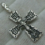 Новый Серебряный Крест Крестик Распятие Спаси и сохрани Узор 925 проба Серебро 484