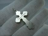 Серебряный Крест Распятие Ручная Работа Гравировка Спаси и сохрани 925 проба Серебро 466, фото №3