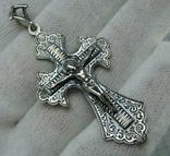 Серебряный Крест Большой Растительный Узор Ручная Гравировка Свеча 925 проба Серебро 456