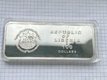 Серебряная монета 100 долларов Либерия, фото №5