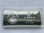 Серебряная монета 100 долларов Либерия, фото №6
