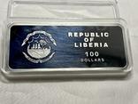 Серебряная монета 100 долларов Либерия, фото №9