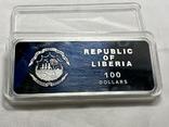 Серебряная монета 100 долларов Либерия, фото №10
