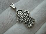 Серебряный Крест Крестик Ангелы Крылья Молитва Да воскреснет Бог 925 проба Серебро 346 фото 2