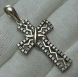 Серебряный Крест Крестик Стилизованный с Камнями Зигзаги 925 проба Серебро 352
