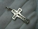 Серебряный Крест Крестик Стилизованный с Камнями Зигзаги 925 проба Серебро 352, фото №3