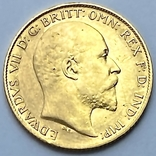 1/2 фунта (1/2 соверена). 1909. Эдуард VII. Великобритания (золото 917, вес 3,97 г), фото №2