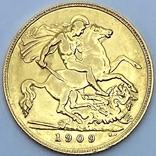 1/2 фунта (1/2 соверена). 1909. Эдуард VII. Великобритания (золото 917, вес 3,97 г), фото №3