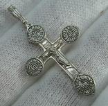 Серебряный Крест Крестик Распятие Молитва Кресту поклоняемся 925 проба Серебро 381 фото 1
