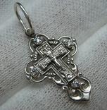 Серебряный Крест Крестик Маленький Детский для Ребенка Иисус Богородица 925 проба 419 фото 1