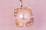 Золотой кулон 750 с бриллиантами 0, 06карат, фото №2