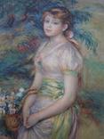 Молодая девушка с корзиной цветов. худ. Ренуар пр-ва ГДР, фото №2