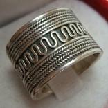 Серебряное Кольцо Широкое Размер 18 Этнический Стиль Бесконечность Серебро 925 проба 623
