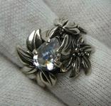 Серебряное Кольцо Размер 16.25 Камни Белые Цветок Цветы Лист Листья 925 проба Серебро 242