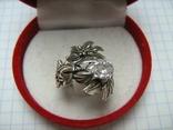 Серебряное Кольцо Размер 16.25 Камни Белые Цветок Цветы Лист Листья 925 проба Серебро 242, фото №3