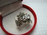 Серебряное Кольцо Размер 16.25 Камни Белые Цветок Цветы Лист Листья 925 проба Серебро 242, фото №4