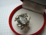 Серебряное Кольцо Размер 16.25 Камни Белые Цветок Цветы Лист Листья 925 проба Серебро 242, фото №5