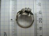 Серебряное Кольцо Размер 16.25 Камни Белые Цветок Цветы Лист Листья 925 проба Серебро 242, фото №6