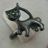 Серебряное Кольцо Размер 15.75 Кот Котенок Кошка Глаза Зеленые Камни 925 проба Серебро 825