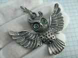 Серебряный Кулон Подвеска Сова Крылья Глаза Зеленые Камни Серебро 925 проба 267 фото 1