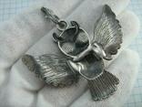Серебряный Кулон Подвеска Сова Крылья Глаза Зеленые Камни Серебро 925 проба 267 фото 2