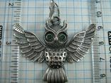 Серебряный Кулон Подвеска Сова Крылья Глаза Зеленые Камни Серебро 925 проба 267 фото 3