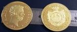 100 песет  1870року  року Іспанія.  магнітна, точна  копія,  позолота 999, фото №2