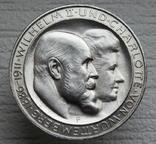"""Вюртемберг 3 марки 1911 г., """"Серебряная свадьба Вильгельма и Шарлотты"""", фото №2"""