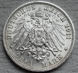 """Вюртемберг 3 марки 1911 г., """"Серебряная свадьба Вильгельма и Шарлотты"""", фото №8"""