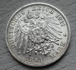 """Вюртемберг 3 марки 1911 г., """"Серебряная свадьба Вильгельма и Шарлотты"""", фото №9"""